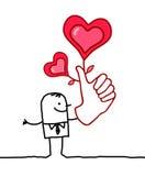 Szczęsliwy kochanek z dużą ręką Fotografia Royalty Free