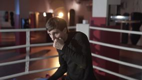 Szczupły napad dla pierwszy walki, atrakcyjny faceta bokser angażuje w pierścionku, przygotowywający koncentruje na uderzeniach,  zdjęcie wideo