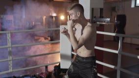Szczupły napad dla pierwszy walki, atrakcyjny faceta bokser angażuje w pierścionku, przygotowywający koncentruje na uderzeniach,  zbiory