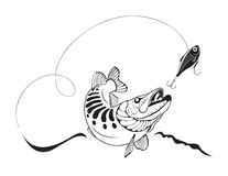 Szczupak i połów wabijemy, wektorowa ilustracja ilustracji