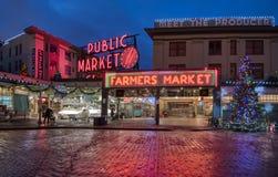 Szczupaka miejsca rynek przy świtem obrazy stock