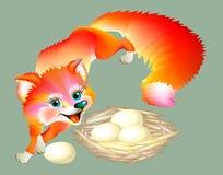 Szczwany lis delektuje jajka od gniazdeczka Obrazy Royalty Free