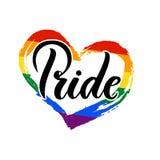 Szczyci się Ręcznie pisany literowanie z flaga LGBT społeczność ilustracji