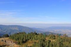 Szczyrk - cumbre de la vista de Skrzyczne fotografía de archivo libre de regalías