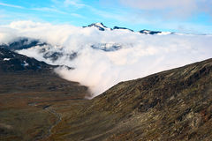 Szczyt Galdhopiggen w Norwegia Fotografia Stock