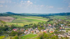 Szczytna village from above in Stolowe Mountains. Szczytna village from above, Stolowe Mountains, Klodzka Valley, Sudetes, Poland Stock Photos