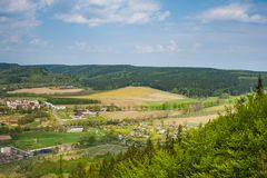 Szczytna village from above in Stolowe Mountains. Szczytna village from above, Stolowe Mountains, Klodzka Valley, Sudetes, Poland Royalty Free Stock Image