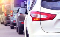 Szczytowa godzina Ruchu drogowego dżem na autostradzie obraz stock