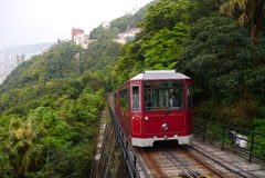 Szczytowy tramwaj przez szczyt Zdjęcie Stock