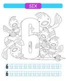 sześć Uczyć się liczbę 6 Barwić printable worksheet dla dziecina i preschool Ryba ilustracja wektor