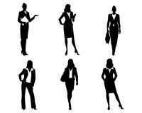 Sześć bizneswomanów sylwetek Zdjęcia Stock