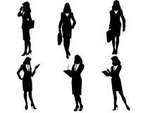 Sześć bizneswomanów sylwetek Fotografia Stock