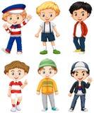 Sześć chłopiec w różnym kostiumu royalty ilustracja