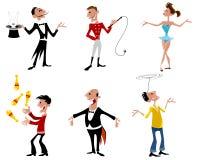 Sześć cyrków artystów royalty ilustracja