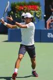 Sześć czasu wielkiego szlema mistrzów Novak Djokovic ćwiczy dla us open 2014 Zdjęcia Stock