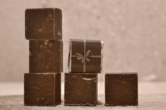 Sześć czekoladowych bloków Fotografia Stock