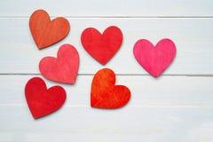 Sześć czerwonych serc Zdjęcia Stock