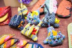 Sześć handmade kotów Obraz Royalty Free