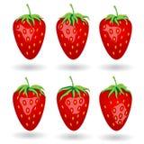 Sześć jagod truskawki pod różnym oświetlenie kątem Obraz Royalty Free