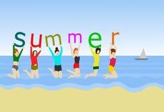 Sześć kobiet skaczą na piasku W ręce, trzyma abecadło «lato « ilustracji