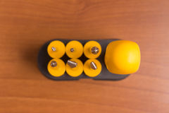 Sześć kolorów żółtych śrubokrętów Zdjęcie Royalty Free