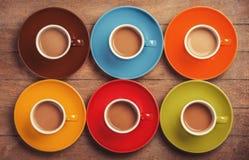 Sześć kolorów filiżanek Zdjęcie Stock