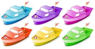 Sześć kolorowych łodzi Zdjęcia Stock