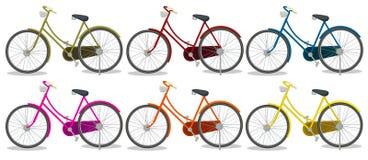Sześć kolorowych rowerów ilustracji