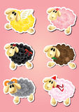 Sześć kreskówek śmiesznych sheeps - zwierzęta gospodarskie Obrazy Stock