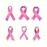 Sześć nowotwór piersi świadomości faborków ilustracja wektor