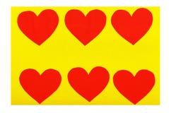 Sześć papierowych czerwonych serc Zdjęcia Stock