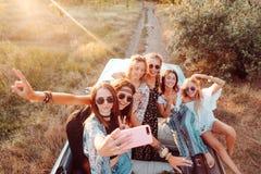 Sześć pięknych dziewczyn robią selfie Zdjęcie Stock