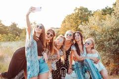 Sześć pięknych dziewczyn robią selfie Obrazy Stock