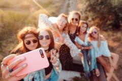 Sześć pięknych dziewczyn robią selfie Obraz Stock