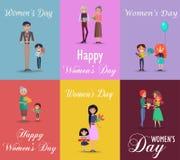 Sześć plakatów na kobieta dniu z prezentami i kwiatami ilustracji