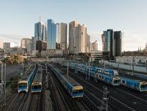 sześć pociągów obraz stock