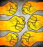 Sześć pomarańczowych pięści cyfrowych ilustracj zdjęcie stock