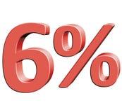 Sześć procentów 6% Wektorowa ilustracja z 3D skutkiem Zdjęcia Stock