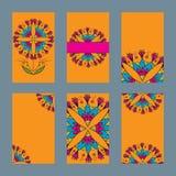 Sześć projektów kart z indyjskim ornamentem royalty ilustracja