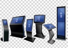 Sześć Promocyjnych Interaktywnych Ewidencyjnych kiosków, Reklamuje pokazu, Terminal stojak odizolowywający na przejrzystym tle ilustracji