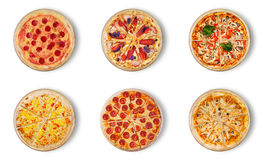 Sześć różnych pizz ustawiających dla menu Obrazy Stock