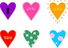 Sześć serc ilustracji