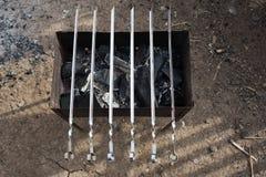 Sześć skewers na grillu dla grilla Zdjęcie Stock
