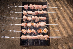 Sześć skewers z surowym mięsem na prażaku Zdjęcia Stock