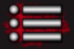 Sześć stali nierdzewnych horyzontalnych etykietek na czerwieni dymią tło Obrazy Royalty Free