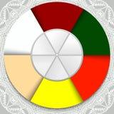 Sześć stubarwnych sektorów w okręgu Pojęcie pomysł jest wakacje yugadi Sześć kolorów sześć smaków Obrazy Royalty Free