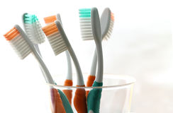 sześć toothbrush fotografia stock