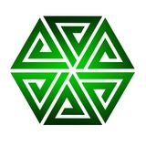Sześć trójboka colour zieleni łącznych gradientów ilustracji