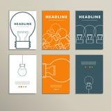 Sześć wektorów wzorów kreskowych broszurek z światłami Obraz Stock