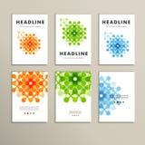Sześć wektorów wzorów z abstraktem oblicza broszurki Obrazy Stock